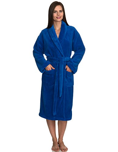 n's Super Soft Plush Bathrobe Fleece Spa Robe Large/X-Large Strong Blue ()