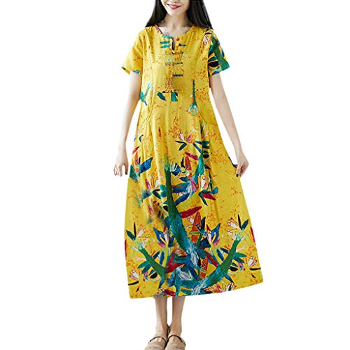 Women's Round Neck Printed Dress - Cotton and Linen Short-Sleeved Dress,Sunsee 2019 Must Have