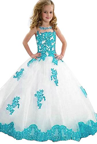 Yc Girls Pageant Dresses Applique Ball Gown Tulle Princess Prom Party Dresses08 US Turquoise