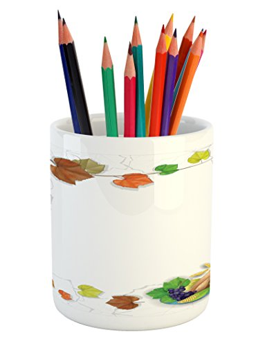 Frame Turkey - Lunarable Thanksgiving Pencil Pen Holder, Dried Leafage Frame with Turkey Pumpkin and Fruits in Delicious Family Dinner, Printed Ceramic Pencil Pen Holder for Desk Office Accessory, Multicolor