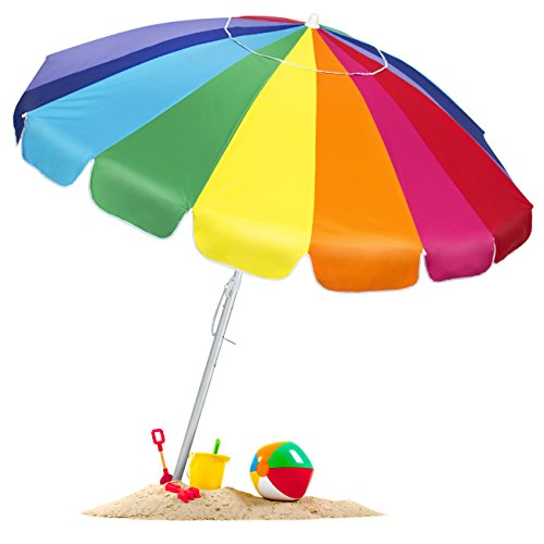 - Best Choice Products 8ft OversizedTilt Rainbow Beach Umbrella w/Carrying Case and Anchor - Multicolor