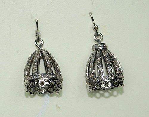 Estate Style 3.25ctw Pave Diamond 925 Sterling Silver Bali Earrings Bali Style Diamond Earring