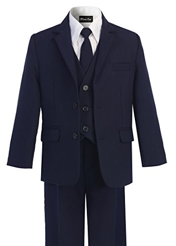 OLIVIA KOO Boys Solid 5-Piece Formal Suit Set with Matching Neck Tie by OLIVIA KOO