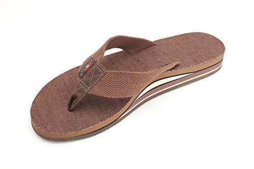 Rainbow Sandals Women's Double Layer Arch Hemp w/Wide Strap, Brown, Ladies Medium / 6.5-7.5 B(M) US