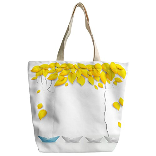Violetpos Benutzerdefiniert Canvas Handtasche Einkaufstaschen Umhängetasche Schultasche Papierboot Goldene Blätter Schiff pH019