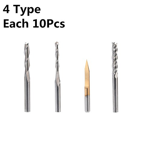 HQMaster End Mill Combination Kit Set CNC Router Bits Cutter Cutting Milling Tool (4 Type, Each 10Pcs) Including Flat Nose/Ball Nose End Mill, 30 V-shape Engraving Bits and 4 Flutes End Mill