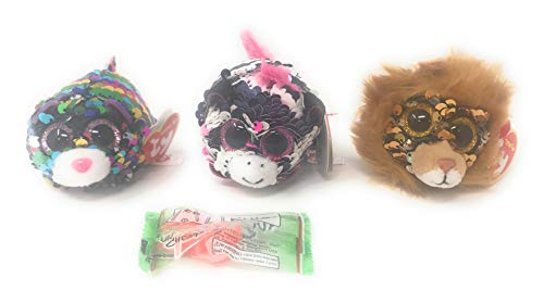TY Sequin Teeny Ty's Bundle of 3, Includes Dotty The Leopard, Regal The Lion, Zoey The Zebra, and a Fun Chop Chopstick Holder