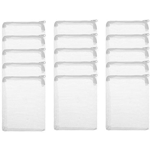 BCP 15 Pieces Nylon Aquarium Filter Media Bag Mesh Filter Bag Net Bag with Zipper White Color 8 x 5.75 inches