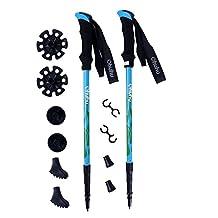 Ohuhu [2-Pack] Anti Shock Retractable Trekking Hiking Poles Walking Stick Cane Adjustable Crutches, 1 Pair