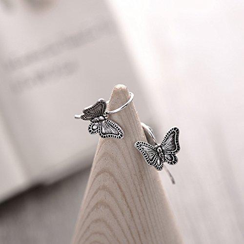 usongs Thai silver butterfly earrings s925 sterling silver butterfly earrings do old retro earrings fine craft butterfly fly by usongs