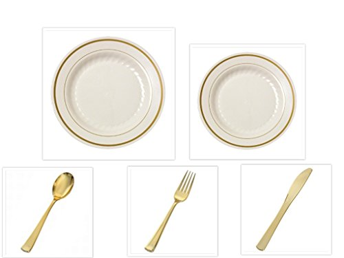 500 Pieces Plastic Ivory w/GOLD Band China Plates and Gold Silverware Combo for 100 people