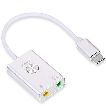 JUNERAIN Tarjeta de Sonido USB-C Tipo-C Externa Virtual HiFi 3D ...