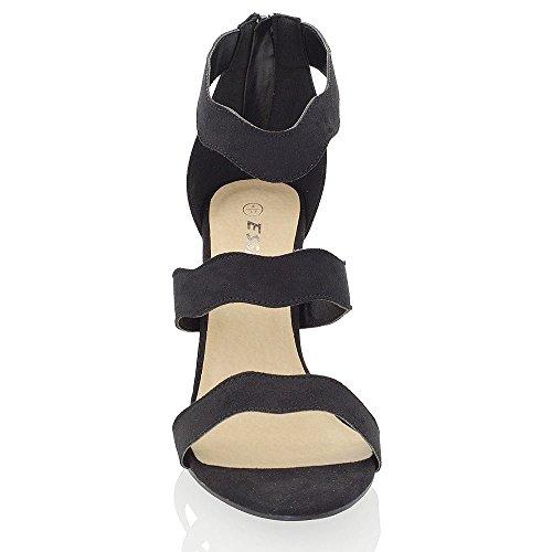 Essex Glam Donna Tacco A Spillo Cinturino Alla Caviglia Con Cerniera Smerlato Dettaglio Sandali Party In Ecopellicciata Scamosciata
