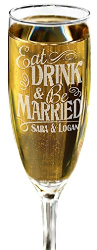ONE Eat Drink and Be Married Champagne Glass Flutes Wedding Party Gift Bride Groom Newlyweds Toasting -