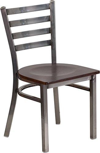 Flash Furniture HERCULES Series Clear Coated Ladder Back Metal Restaurant Chair - Walnut Wood Seat - Metal Chair 500 lb. Weight Capacity Ladder Back Design - kitchen-dining-room-furniture, kitchen-dining-room, kitchen-dining-room-chairs - 41EqEd%2B7U9L -
