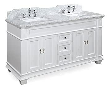 Elizabeth 60-inch Double Bathroom Vanity (Carrara/White): Includes ...