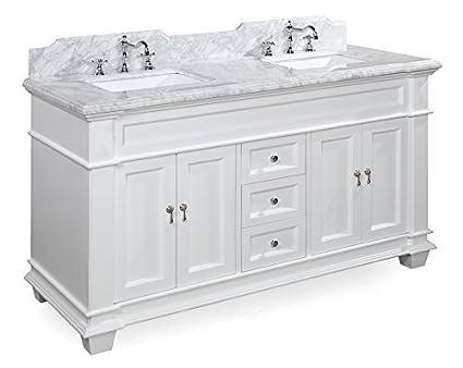 Elizabeth 60 Inch Double Bathroom Vanity (Carrara/White): Includes White  Cabinet