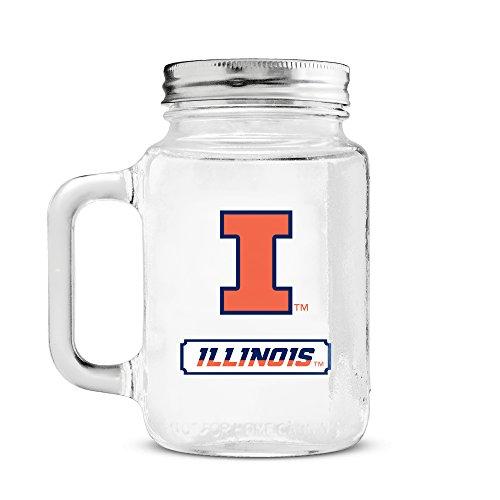 Illini Fighting Glass Illinois (Duck House NCAA Illinois Fighting Illini 20oz Glass Mason Jar)
