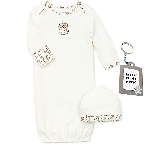 Little Me Baby-Boy Safari Animal Lion Newborn Gown Hat Keychain Ivory 0-3 Mth