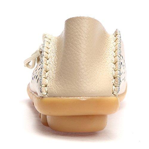 Mocassini In Pelle Da Donna Wqinshoe Slip On Mocassini Scarpe Basse Da Guida Casual Con Sottopiede In Memory Foam Beige