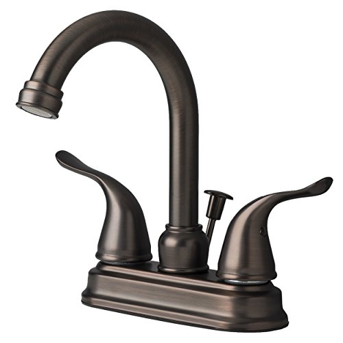 Builders Shoppe 2020BZ Two Handle Centerset Lavatory Faucet with Pop-Up Drain Brushed Bronze Finish - Brushed Bronze Drain