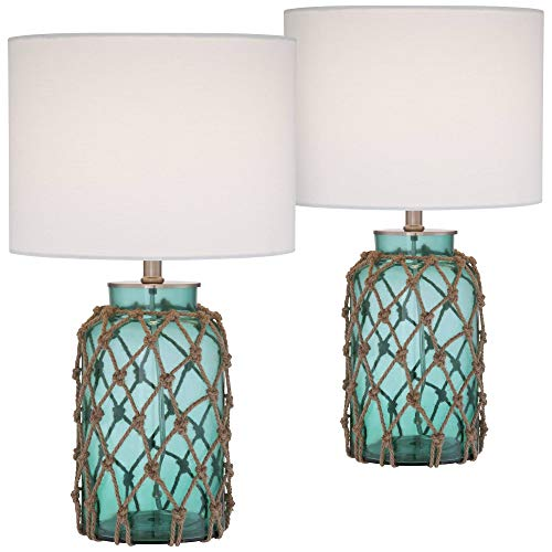 Crosby Nautical Accent Table Lamps Set of 2 Coastal Blue Green Rope Net Off White Drum Shade for Living Room Family Bedroom - 360 Lighting (Blue Country Bedroom)
