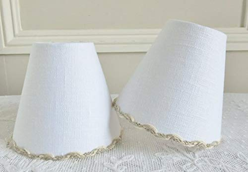 French country White linen lamp shade 4.3 ins x 5.1 ins clip on for sconce or - Country Shades Chandelier French