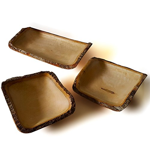 - roro Handcarved Rectangular Mango Wood Rectangular Serving Tray with Bark, 3 Piece