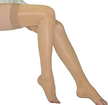 ae5726b186414 BriteLeafs Sheer Compression Stockings Thigh High 20-30 mmHg, Firm Support,  Open Toe
