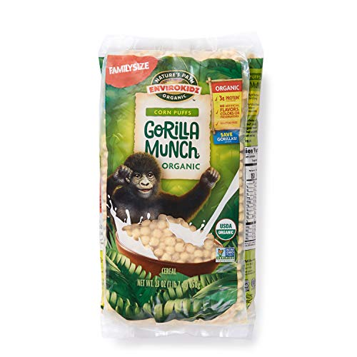 Corn Organic Puffs (Nature's Path EnviroKidz Gorilla Munch Corn Puff Cereal, Healthy, Organic, Gluten-Free, 23 Ounce Bag (Pack of 3))