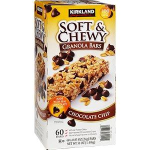 Chip Chewy Granola Bars (Kirkland Chewy Granola Bars Chocolate Chip, 60 ct Net WT 60 X 0.85 oz (24g) Bars, Net WT 51 oz (1.44kg))