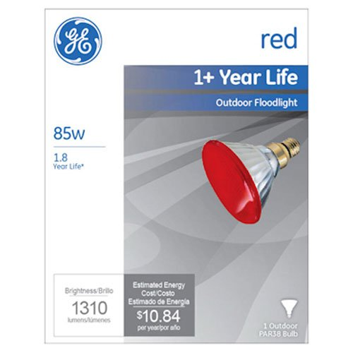GE Lighting 13472 85-Watt Outdoor PAR38 Incandescent Light Bulb, Red by GE Lighting