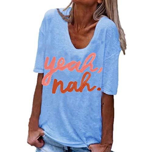 POQOQ Blouse Women Summer Letters Short Sleeve T-Shirt Casual Tunic Shirt Tops(Blue,XL)]()
