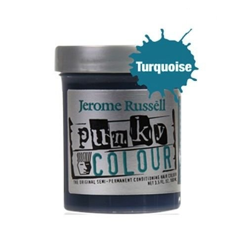 jerome russell Punky Hair Color Creme, Turquoise, 3.5 Ounce - Turquoise Hair Dye