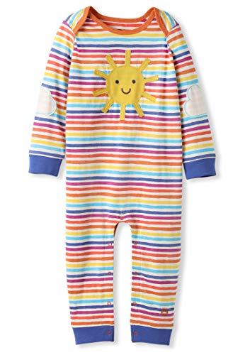 Organic Cotton Baby Romper Girl Boy - Sunshine Applique Rainbow Stripes (6-12M)