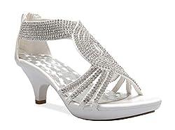 White Open Toe Strappy Rhinestone Low Heel Sandal