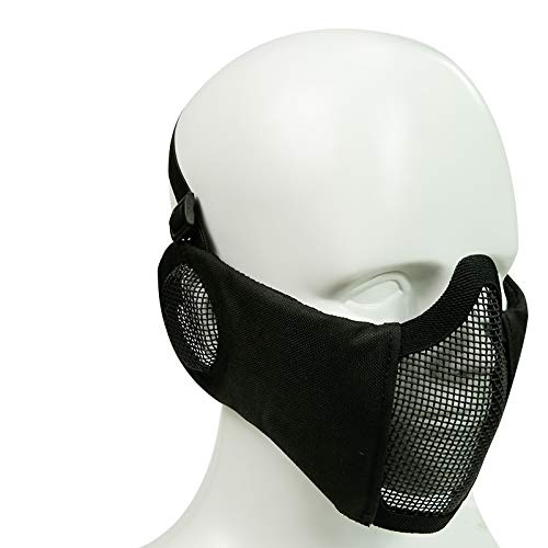 Simways Half Face Mask Lower Steel Mesh Mask with Ear Guard Protection for Airsoft Paintball BBS Shooting (Black)