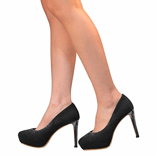Heel Platform Fashion Pumps Black Womens Cat High Classic InterestPrint A7UpqwR
