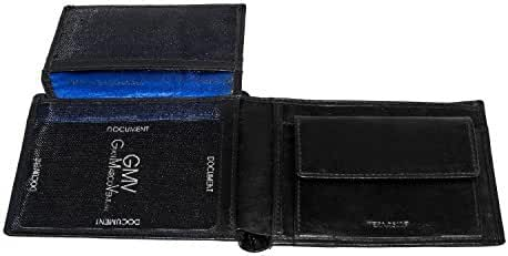 Wallet man GIANMARCO VENTURI black with flap and coin purse in leather A3814