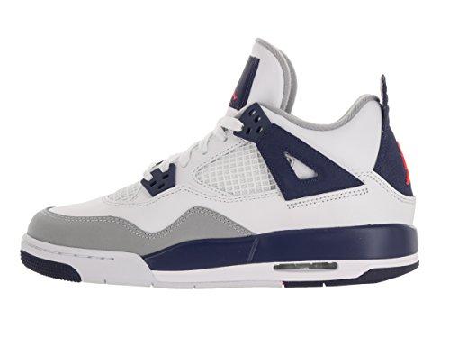 Nike Air Jordan 4 Retro Gg, Zapatillas de Running para Mujer Blanco / Naranja / Azul (White / Hypr Orng-Dp Ryl Bl-Wlf)