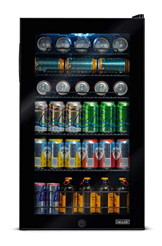 NewAir AB-1200B Cooler, Freestanding Beverage Mini Fridge with Glass Door, 126 Can Capacity, Black