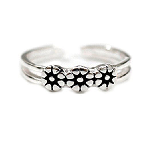 HEYUAN FASHION Sterling Silver Plated Vintage Rose Flower/Daisy Sunflower Foot Open Ring,Adjustable Toe Ring For Women (Daisy Flower)