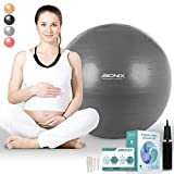 Pregnancy Birthing Ball 75cm | Anti Burst with Hand Pump, Extra Plugs and Instructions Guide | Maternity Birth and Weight Loss Yoga Fitness | Stability Ball - Silver