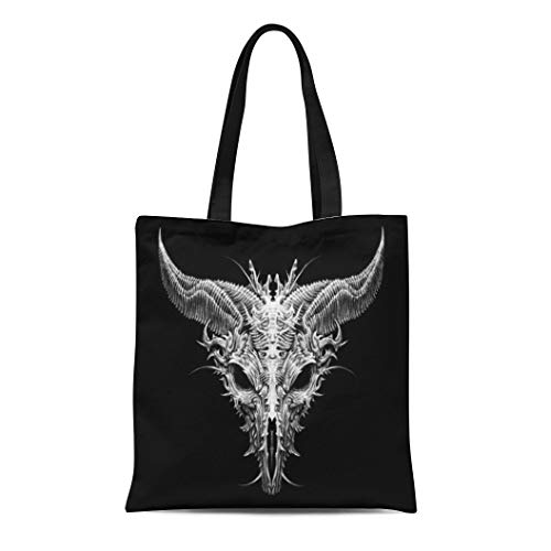 (Semtomn Canvas Bag Resuable Tote Grocery Adorable Shopping Portablebags Devil Satan Goat Head Biomechanical on Black Aliens Apocalypse Bad Bull Costume Natural 14 x 16 Inches Canvas Cloth Tote)