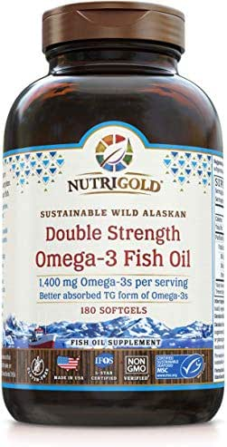 Omega-3 Fish Oil Capsules - Double Strength Omega-3 Fish Oil, 1400 mg, 180 Softgels - The GOLD Standard, IFOS 5-Star Certified Fish Oil Omega-3 Supplement In Highly Absorbable Triglyceride Form