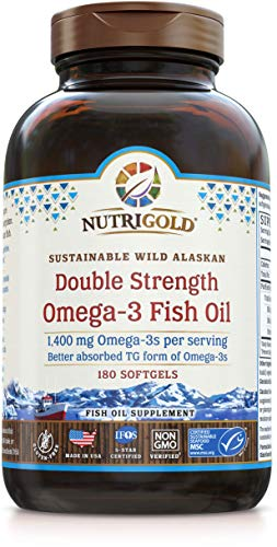 Omega-3 Fish Oil Capsules - Double Strength Omega-3 Fish Oil, 1400 mg, 180 Softgels - The GOLD Standard, IFOS 5-Star Certified Fish Oil Omega-3 Supplement In Highly Absorbable Triglyceride Form (Difference Between Dha And Epa Fish Oil)