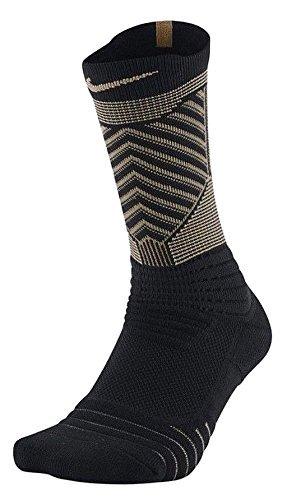 Nike Men Elite Versatility Basketball Crew Socks (Black/Black/Gold, Medium)