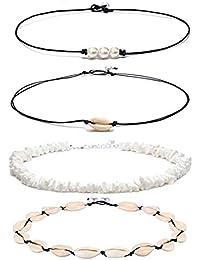 Shell Pearl Choker Necklace for Women Hawaiian Seashell Pearls Choker Necklace Adjustable Cord Necklace Set (Black)