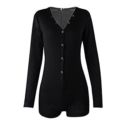 Moxeay Womens Long Sleeve Shorts V Neck One Piece Bodysuit Bodycon Rompers Overall: Clothing