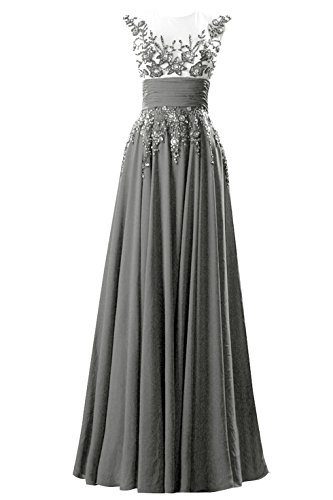 [Queenmore Women´s A Line Chiffon Maxi Heavy Beading Party Dress US4 Steel Grey] (Maternity Fancy Dress Uk)
